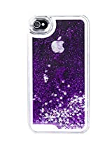 Phoenix Bling Sparkle Glitter Stars Dynamic Liquid Quicksand Clear Hard Case Frame for iPhone 4 4s 4g - Purple