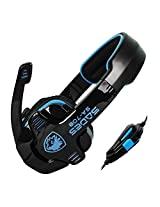 Sades SA-708 Over-Ear Gaming Headset with Mic & Remoter - Black/Blue