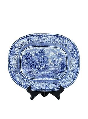 Rural England Blue Platter, White/Blue