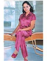 Indiatrendzs Women's Satin Pajama Sets Silk Night-shirt- 3 Pc Nighty
