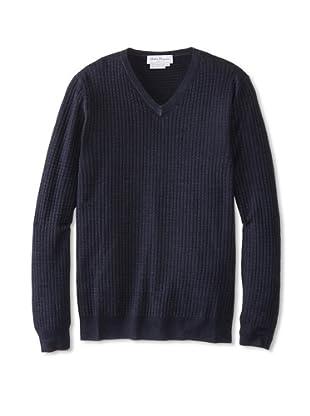 Salvatore Ferragamo Men's Ribbed V-Neck Sweater (Navy)