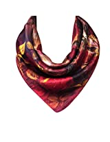 Wrapables 100% Charmeuse Silk Square Scarf Neckerchief, Red Roses