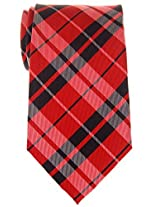 "Retreez Preppy Plaid Check Woven Microfiber 3.15"" Men's Tie - Red and Black"