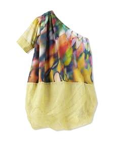 kicokids Girl's One Shoulder Two-Texture Cocoon Dress (Starburst)