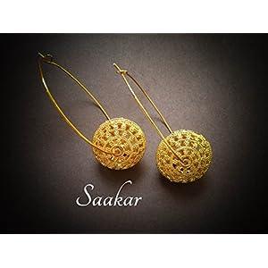 Saakar Intricate Cutwork Beaded Hoops Earrings