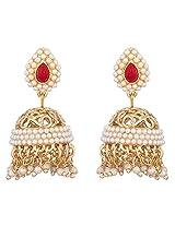Royal Bling Marsala Filigree Pearly Jhumkas for Girls