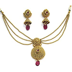 Shingar jewellery antique gold plated polki kundan look necklace set for women (5472-as-a)