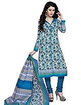 Salwar Studio White & Blue Cotton Dress Material with Dupatta SHIMAYAA-1205