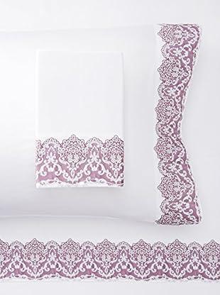 Dea Rowan Border Sheet Set (White/Vintage Rose)