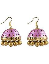 Avarna Terracotta Jhumki Hanging Earrings Jhd0001 For Women (Purple )