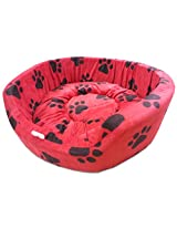 Dog Bed Smart and Cozy in Red Color with Black Paws Design for Small and Medium Size Dog
