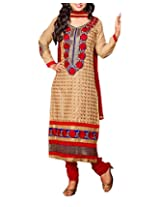 Clothing Deal Women's Cotton Unstitched Dress Material (Beige)