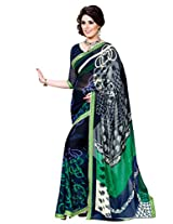 Riti Riwaz Blue & Green saree with unstitched blouse RVL348A