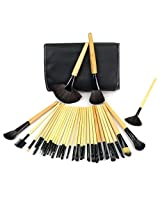 Outop 32pcs Roll Up Case Cosmetic Brushes Kits Pro Wooden Handle Makeup Brushes Tools
