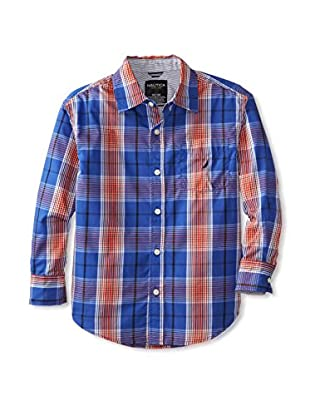 Nautica Boy's Long Sleeve Plaid Woven Shirt