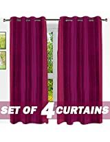 Story@Home 4 Piece Eyelet Polyester Window Curtain Set - 5 ft, Crimson