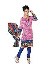 Divisha Fashion Pink Cotton Printed Churiddar Suit with Dupatta
