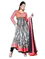 JINAAM DRESSES GEORGETTE ANARKALI STYLE UNSTITCHED SUIT WITH CHIFFON DUPATTA