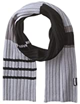 Muk Luks Men's Ribbed Colorblocked Stripe Single Layer Scarf