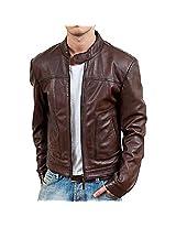 Iftekhar Men's Pure leather Jacket - Brown - (Iftekhar35 - XL)