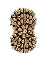 Chola Designer Bow Shaped Fabric Broach With Antique Gold and Silver (Silver)