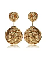 Habors Gold Wire Wrapped Double Sides Stud Earrings for Women