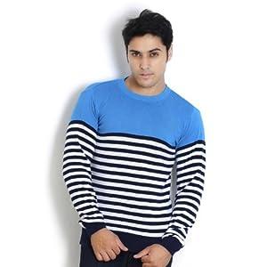 Globus Non Collared Cotton Men's T-Shirt-Blue
