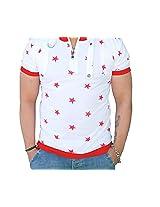 Black Collection Men's Half-Zip Cotton T-Shirt (BCSA0001_White & Red_Medium)