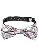 PenSee 100% Silk Mens Pre-tied Bow Tie Red & White & Blue Geometric Bow Ties