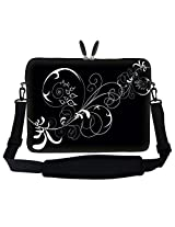 15 15.6 inch White Swirl Design Laptop Sleeve Bag Carrying Case with Hidden Handle and Adjustable Shoulder Strap