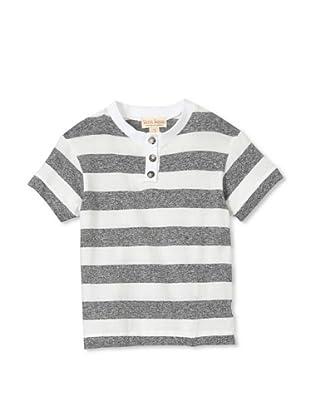Upper School Boy's Grey Stripe Henley (Grey)