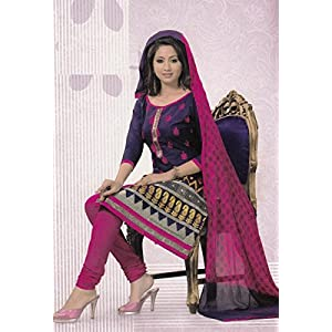 Embroidered Cotton Unstitched Dress Material With Chiffon Dupatta D.No SV1055