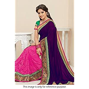Bollywood Style Deepika Singh 60 Gram Georgette Saree In Purple and Pink Colour NC552