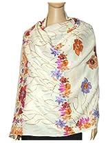 Indian Fashion Guru White flower design Embroidery stole, shawls