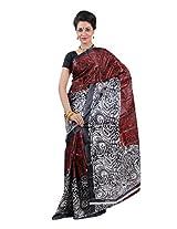 Parichay Women's Silk Saree(Red & Black)