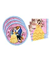 Beauty and the Beast Belle Birthday Party Supplies Set Large Plates & Napkins Tableware Kit for 16