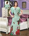 Odishabazaar Womens Sleep Wear Viscose Long Printed Blue Nighty Caftan Kaftan Dress