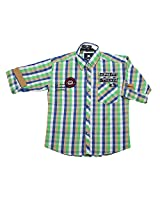LITTLE MAN Cotton Boy's Shirt (LM5C3_12 , Green, 12)