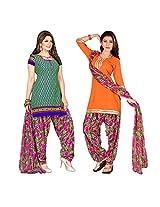 Triveni Women's Polyester Unstitched Salwar Kameez (TSDKTSK3001_Green)