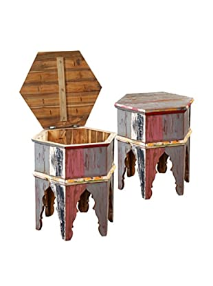 Jeffan Macedon Hexagon Side Table with Storage
