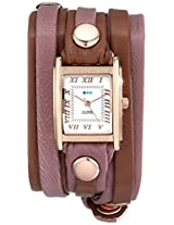La Mer Collections Women's LMLWMIX004 Stainless Steel Watch with Two-Tone Wraparound Leather Band