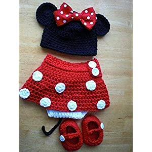 HighKnit Bowed Cap And Red Skirt Minnie Baby Set