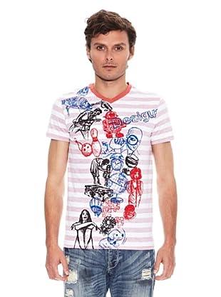 Desigual Camiseta Bb Rep (Blanco / Rosa)