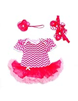 NeedyBee Pink and White Baby girl Jumpsuit Romper Tutu dress with Matching Headband and shoe(13)