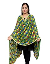 S.K. Ethnic India Women's Chiffon Hand Embroidered Dupatta (Green_Free Size)