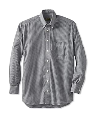 Gitman Brothers Men's Broadcloth Gingham Check Sport Shirt with Button-Down Collar (Black/White)