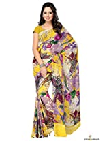 Faux Georgette Printed Saree In Yellow Colour