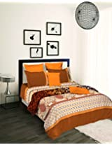 Tangerine Tangy Orange 4 Piece Cotton Bed in a Bag Set - Brown