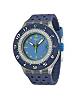 Swatch Flow Through Blue Dial Blue Perforated Rubber Men's Watch (SUUK403)