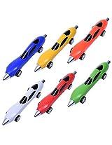 BCP 6pcs 6Color Cut Novelty Racing Car Ballpoint Pen for Child